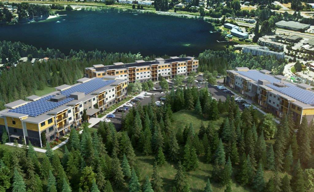 Rendering of Lakeview Terrace alongside Long Lake